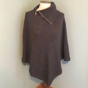 NWT Michael Kors Gray Ribbed Cowl Poncho Sweater
